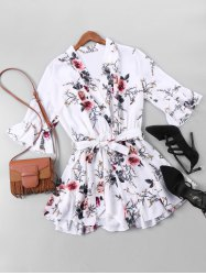 Floral Print Belted Faux Wrap Romper -