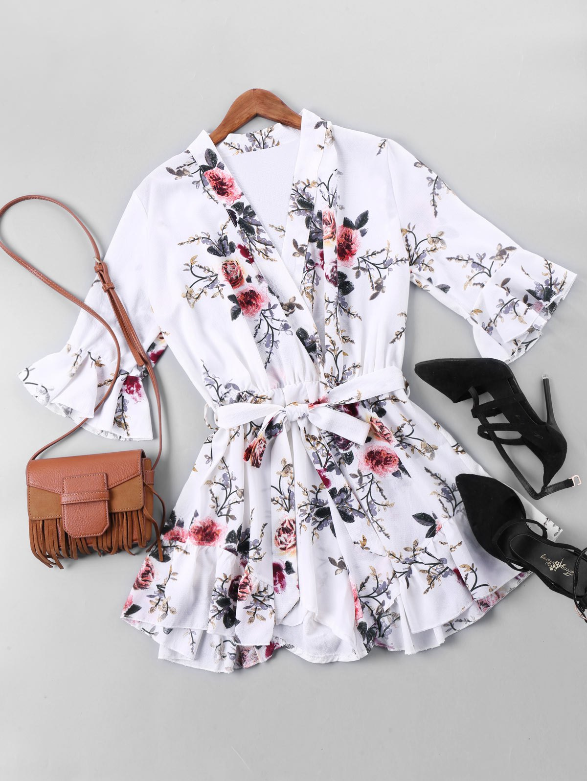 New Floral Print Belted Faux Wrap Romper
