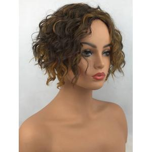 Short Center Parting Colormix Fluffy Wavy Synthetic Wig -