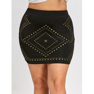 Plus Size High Waist Mini Skirt with Rivet -