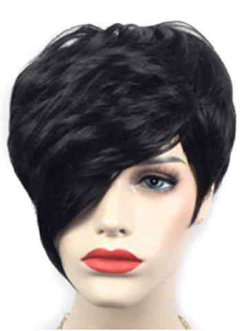 Short Inclined Bang Layered Natural Straight Synthetic Wig
