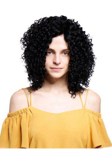 Short Inclined Bang Fluffy Kinky Curly Synthetic Wig