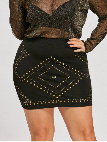 Fancy Plus Size High Waist Mini Skirt with Rivet