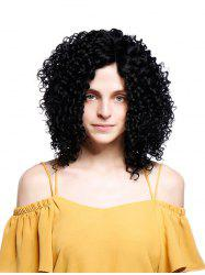Short Inclined Bang Fluffy Kinky Curly Synthetic Wig -