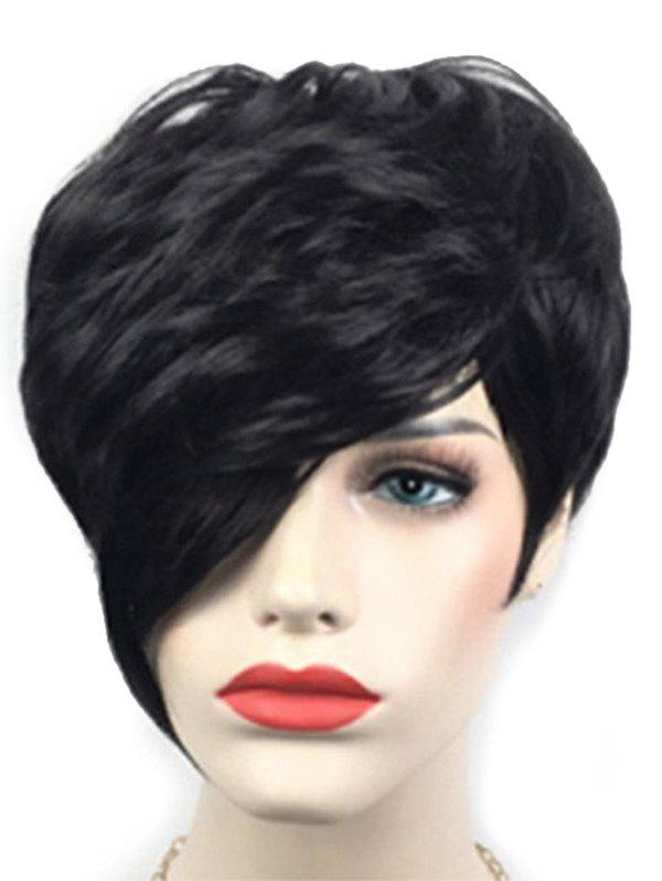 Latest Short Inclined Bang Layered Natural Straight Synthetic Wig