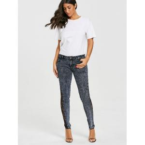See Through Lace Panel Jeans -