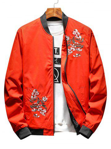 Unique Zip Up Floral Embroidery Bomber Jacket