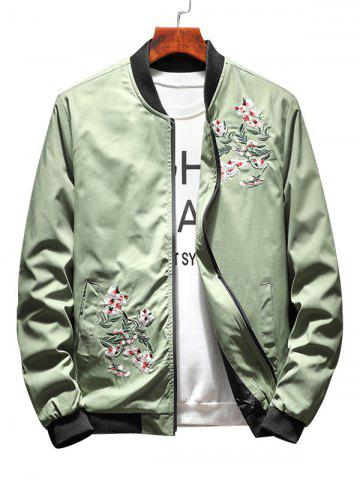 Online Zip Up Floral Embroidery Bomber Jacket