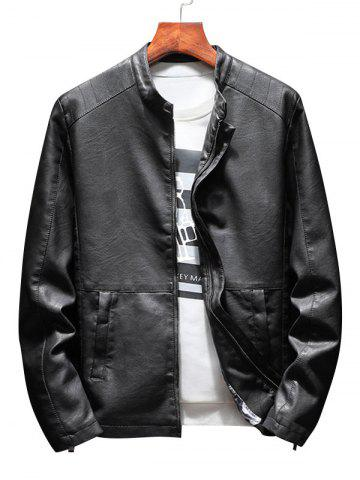 Discount Zip Up Casual Faux Leather Jacket