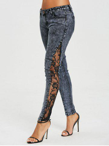 Shop See Through Lace Panel Jeans