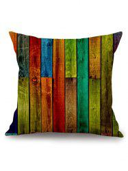 Rainbow Wooden Board Print Square Pillow Case -