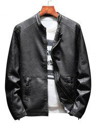 Zip Up Casual Faux Leather Jacket -