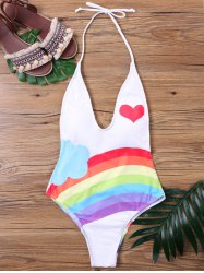 One Piece Halter Neckline Rainbow Swimwear -