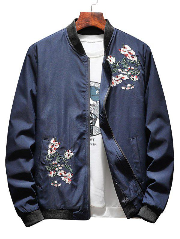 Affordable Zip Up Floral Embroidery Bomber Jacket