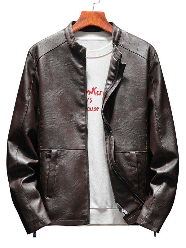 Latest Zip Up Casual Faux Leather Jacket