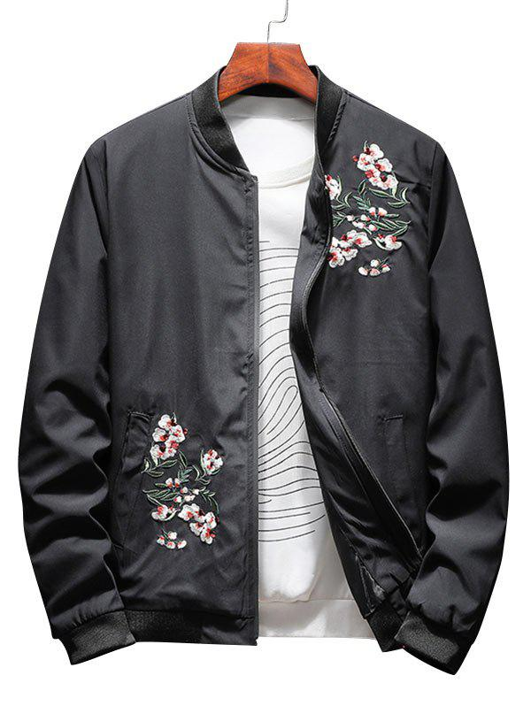 Trendy Zip Up Floral Embroidery Bomber Jacket