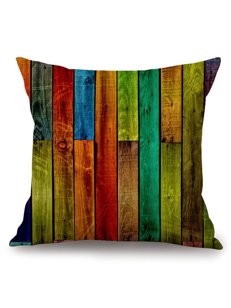 Latest Rainbow Wooden Board Print Square Pillow Case
