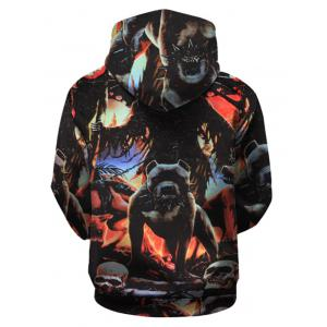 Beast Print Pullover Hoodie with Kangaroo Pocket -