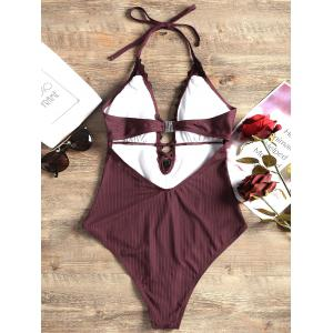 Plunging Neck Lace Panel One Piece Swimsuit -