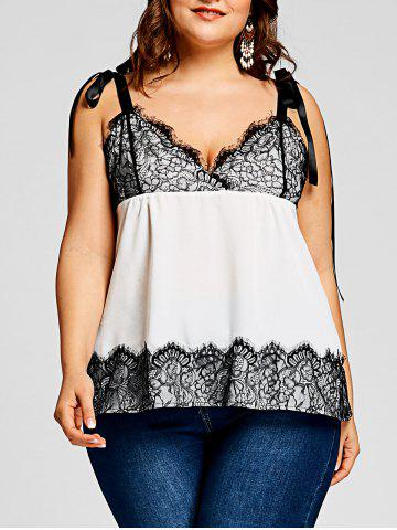 Fancy Plus Size Eyelash Lace Panel Tank Top