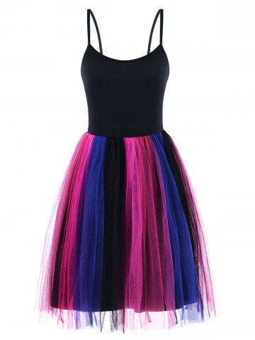 Affordable Tulle Rainbow Pleated Fit and Flare Dress