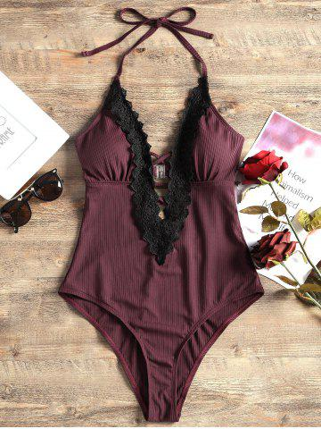 Best Plunging Neck Lace Panel One Piece Swimsuit