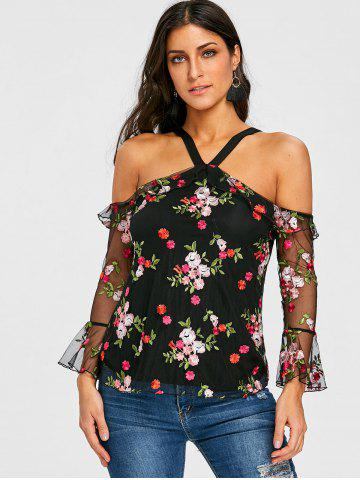 Mesh Open Back Floral Embroidery Blouse