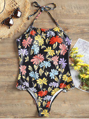 Chic Ruffle Print Halter One Piece Swimwear