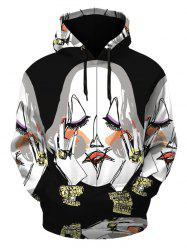 Kangourou Pocket Pullover Illustration Motif à capuche - Noir XL