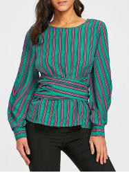 Striped Keyhole Back Blouse -