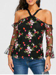 Mesh Open Back Floral Embroidery Blouse -