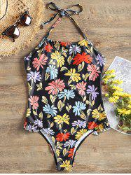 Ruffle Print Halter One Piece Swimwear -