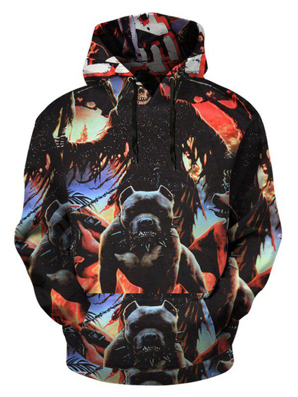 Outfits Beast Print Pullover Hoodie with Kangaroo Pocket