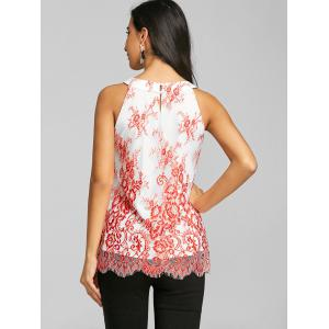 Tiny Floral Keyhole Neck Scalloped Edge Tank Top -