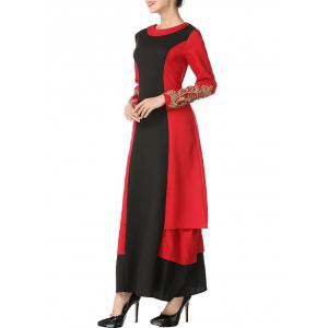 Color Block Embroidered Maxi Arabic Dress -