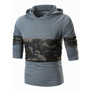 Camo Mesh Panels Pullover Hoodie -