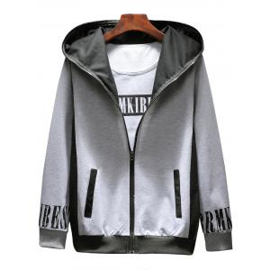 Graphic Print Zip Up Hoodie Tracksuit -