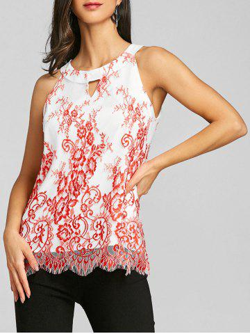 Outfits Tiny Floral Keyhole Neck Scalloped Edge Tank Top