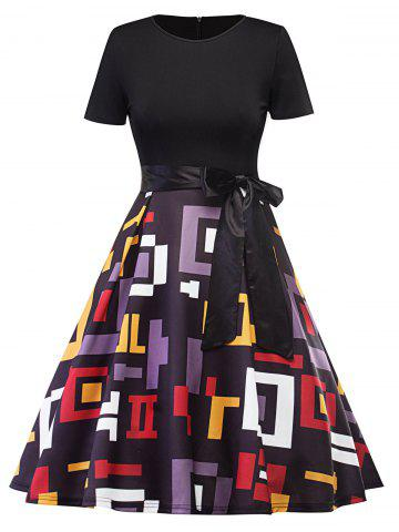 Vintage Geometric Fit and Flare Dress