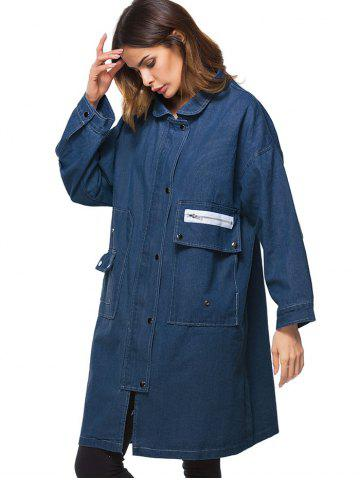 Poches Long Denim Manteau