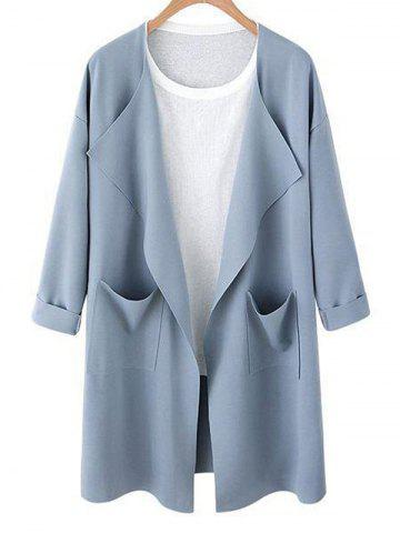 Fancy Drop Shoulder Open Front Pocket Trench Coat