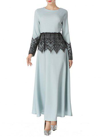Mesh Panel Maxi Arabian Dress - LIGHT GREEN - S