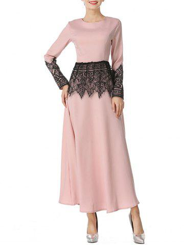 Trendy Mesh Panel Maxi Arabian Dress
