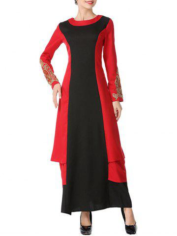 Affordable Color Block Embroidered Maxi Arabic Dress