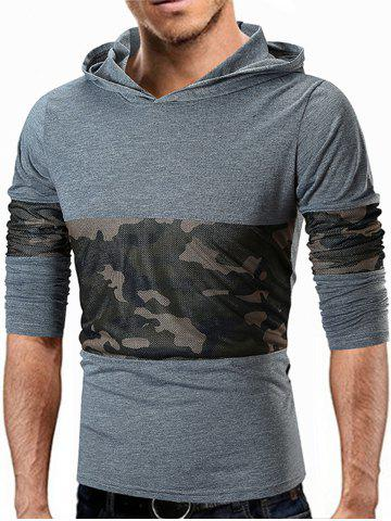 Camo Mesh Panels Pullover Hoodie