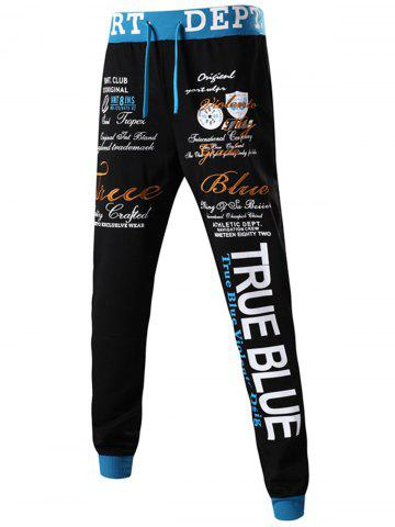 Sale Drawstring Embroidery Graphic Jogger Pants