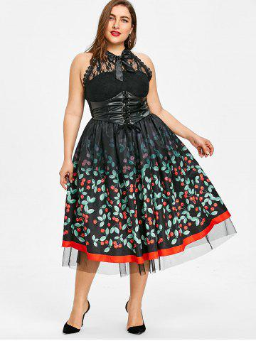Black Cherry Print Dress Free Shipping Discount And Cheap Sale
