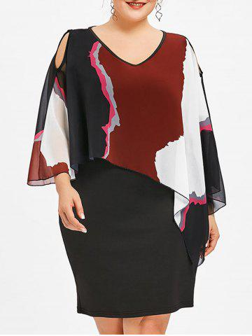 Trendy Plus Size V Neck Overlay Dress