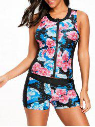 Zip Up Floral Tankini Swimwear -