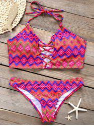 Criss Cross Wave Print Bikini Set -